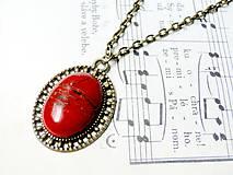 Náhrdelníky - Vintage Red Jasper / Náhrdelník s červeným jaspisom v bronzovom prevedení - 6633446_