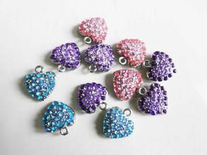 Komponenty - Štrasové fialové srdiečko prívesok - 1 ks - 50% ZĽAVA - 4266961_