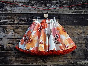 Sukne - FuFu sukně květovaná2 s oranžovou spodničkou - 6634895_