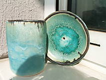 Nádoby - mydelnička tyrkysová a pohárik na zubné kefky