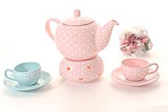Nádoby - Ružový čajník s bodkami - 6634068_