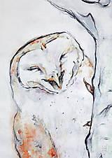 Kresby - Veselá sova – kresba, akvarel - 6635208_