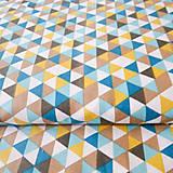 100 % bavlna petrolejové trojuholníky, šírka 150 cm