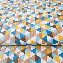 Textil - 100 % bavlna petrolejové trojuholníky, šírka 150 cm - 6636278_
