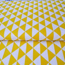 Textil - oranžové trojuholníky; 100 % bavlna, šírka 160 cm, cena za 0,5 m - 6636637_