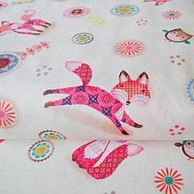 Textil - líštičky I (Friendly Forrest); bavlnená látka, šírka 110 cm, cena za 0,5 m - 6636749_