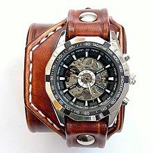 Náramky - Pánske kožené hodinky s textom LUCKY - 6634192  2a4bf226d3