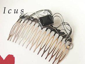 Ozdoby do vlasov - Hrebienok Ónyx - Gonoriel - 6634373_