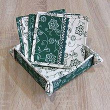 Úžitkový textil - Zeleno biela chalupárska - košíček na drobnosti - 6634834_