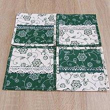 Úžitkový textil - Zeleno biela chalupárska - podšálky 15x15 - 6634862_