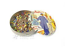 Špendlíky so sklenenými hlavičkami v click-clack plechovke, Prym 029 300