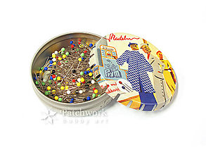 Pomôcky/Nástroje - Špendlíky so sklenenými hlavičkami v click-clack plechovke, Prym 029 300 - 6635974_
