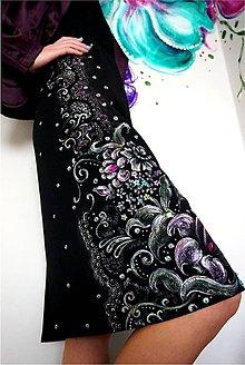 Šaty - rozkvitnutá čipka - maľba na čiernych šatách - 6640376_