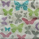 Papier - S663 - Servítky - motýle, butterfly, perleť, pastelové - 6640506_