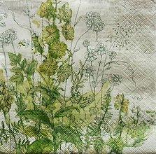 Papier - S659 - Servítky - kvietky, lístky, zelené, motýľ - 6640462_