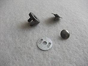 Galantéria - Magnetické zapínanie 18 mm Ni čierny s nitom - 6638441_