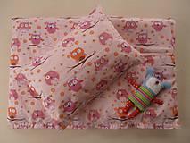 SOVIČKY ružové Detské obliečky bavlnené 100 x 140 / 40 x 60 cm