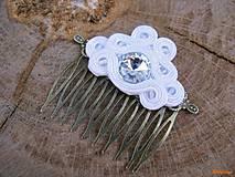 Ozdoby do vlasov - Simple White - hrebienok ...soutache - 6644175_