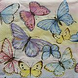 Papier - S668 - Servítky - motýle, motýliky, pastelové, butterfly - 6642881_