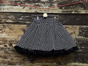 Sukne - FuFu sukně černý puntík s černou spodničkou - 6643073_