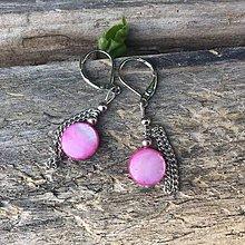 Náušnice - náušnice : s ružovými perleťkami - 6645672_