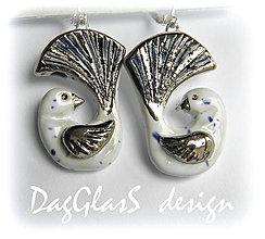 Náušnice - keramické náušnice ...vtáčiky so strieborným krídelkom II.... - 6644958_