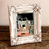 Zrkadlá - Biele vintage malé zrkadielko - 6643837_