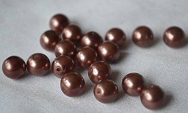 Korálky - Perly sklenené čoko 10mm, 0.55€/10ks - 6641778_
