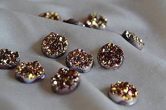 Komponenty - Kabošon druzy ružovozlatý 12mm, 0.15€/ks - 6642248_