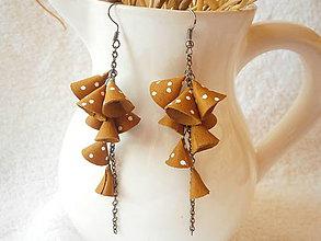 Náušnice - Náušnice kožené, okrové zvončeky - 6642538_