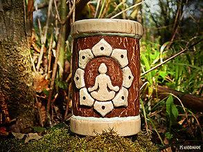 """Svietidlá a sviečky - Vyrezávaný svietnik """"Lotosová meditácia"""" - 6647899_"""