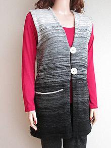 Iné oblečenie - Vesta - černošedobílá - 6648667_