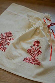 Úžitkový textil - Béžové vrecúška s výšivkou - 6647451_