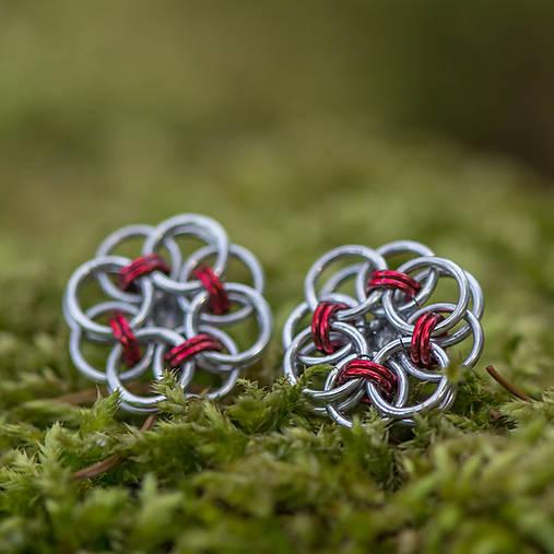 Náušnice - Květinové puzetky (červené) - 6647910_
