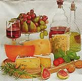 Papier - S669 - Servítky - hostina, syr, figa, olej, víno - 6646013_