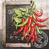 Papier - S670 - Servítky - chilli papričky, peppers, tabuľa - 6646021_