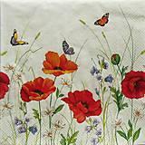 Papier - S675 - Servítky - lúka, maky, motýľ - 6646057_