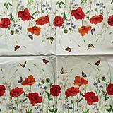 Papier - S675 - Servítky - lúka, maky, motýľ - 6646058_