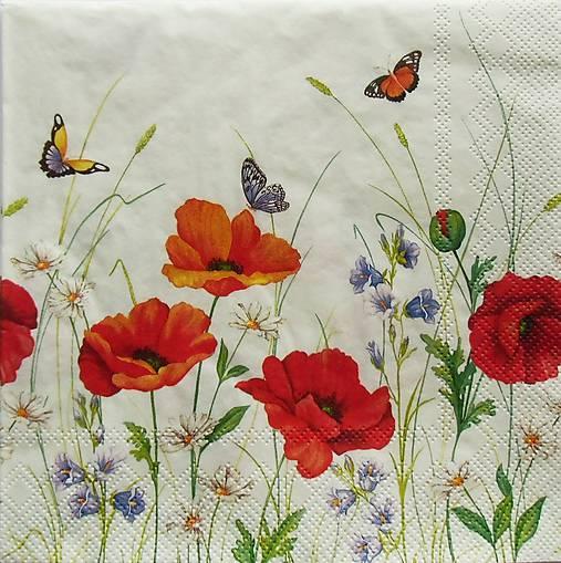 S675 - Servítky - lúka, maky, motýľ