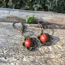 Náušnice - kvietkové s červeným jaspisom - 6648021_