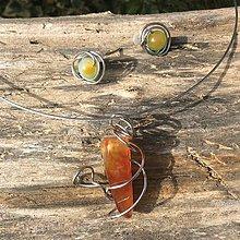 Sady šperkov - nerezová sada s oranžovým achátom - 6650204_
