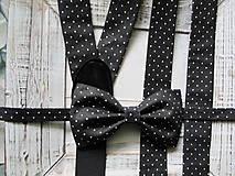 - Pánsky motýlik a traky- čiernobiely set - 6648025_