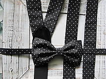 Doplnky - Pánsky motýlik a traky- čiernobiely set - 6648025_