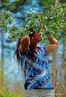 Tričká - Dámske tričko batikované a maľované CIK-CAK - 6646541_
