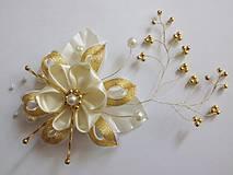 - bielo - zlatá aj svadobná sponka - 6647713_