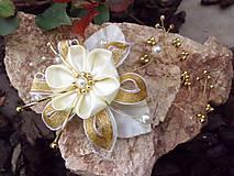 - bielo - zlatá aj svadobná sponka - 6647719_