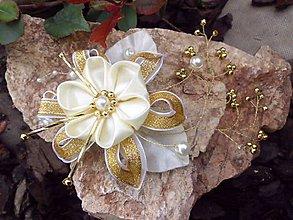 Ozdoby do vlasov - bielo - zlatá aj svadobná sponka - 6647719_