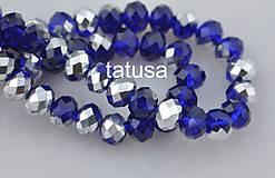 Korálky - Korálky - sklenené brúsené 6x8mm Half Sliver blue Cobalt - 6652478_