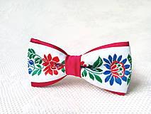Ozdoby do vlasov - Mini Folklore hair clip (red/white) - 6652259_