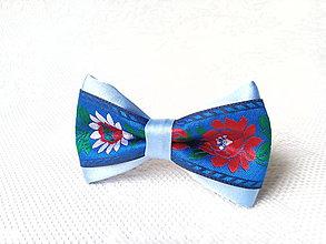 Ozdoby do vlasov - Mini Folklore hair clip (blue) - 6652252_